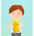 boy kid holding guinea pig vector image vector image