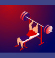 cartoon sportsman training bench-press for bigger vector image