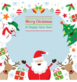 christmas characters frame vector image vector image
