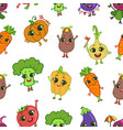 colorful funny vegetables characters seamless vector image vector image