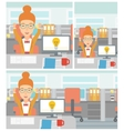 Creative excited woman having business idea vector image vector image