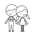 cute little couple characters vector image vector image
