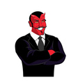 Devil in black business suit Satan businessman Red vector image