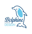 dolphine logo design nautical symbol in blue vector image vector image