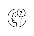 doubt logo with thin line man vector image
