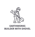 earthworks builder with showel line icon vector image vector image