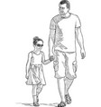 father with his daughter strolling in a sunny vector image vector image