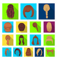 female hairstyle flat icons in set collection for vector image vector image