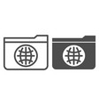 folder with globe line and glyph icon public vector image vector image