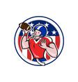 Football Quarterback Throwing Circle Cartoon vector image vector image