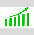 green indication arrow financial statistic rising vector image