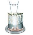happy birthday cake realistic white vector image vector image