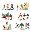 hiking outdoor activity camping and bicycles vector image