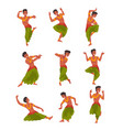 indian dancer character in traditional sari set vector image vector image