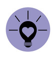 light bulb with heart pictograph block silhouette vector image