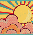 louds and sunRetro nature sky on old paper texture vector image