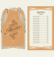 menu for cafe with price list and curlicues frame vector image vector image