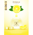 natural skin care products with leaves and lemon vector image
