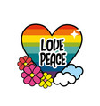 nice hippie heart with flowers and cloud vector image vector image