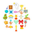 offering icons set cartoon style vector image vector image