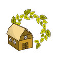 organic farm with leaves plant vector image vector image
