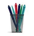 pen in a holder basket office organizer box vector image