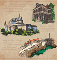 places and architecture - hand drawn pack vector image