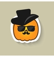 Pumpkin hipster in sunglasses and hat vector image