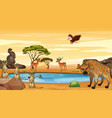 scene with many animals pond vector image vector image