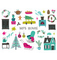 set isolated christmas and new year icons vector image