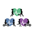 set of people healthy lifestyle exercise activity vector image