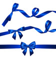 set of realistic blue bow with long curled blue vector image vector image
