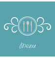 Silver fork knife spoon inside round calligraphic vector image vector image