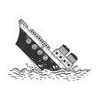 sinking steamboat ship sketch engraving vector image vector image