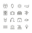 summer set icon line recreation collection vector image