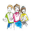 three cheerful characters sketch vector image