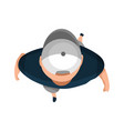 top view people young man with hat on white vector image