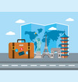 travel briefcase with international place vector image vector image