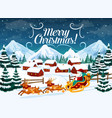 winter town christmas santa sleigh and deers vector image vector image