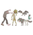 zombies set decaying undead people and animals vector image
