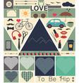 hipster love art set vector image