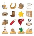 Wild west cowboy cartoon icons vector image