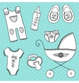 cute elements for baby arrival card vector image