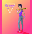 80s forever punk and rock music banner with girl vector image