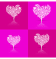 Abstract Heart-Shaped Tree Set on Violet and Pink vector image vector image