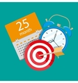 Alarm clock calendar target Time management vector image vector image