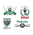 Billiards and poolroom logo and emblems vector image vector image