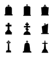 black gravestone icon set vector image vector image