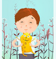 boy portrait with hamster vector image vector image