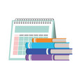 calendar reminder and books isolated icon vector image vector image